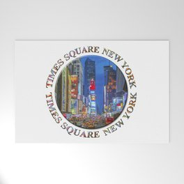 Times Square Broadway (New York Badge Emblem on white) Welcome Mat