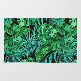 Blue and Green Ferns and Tropical Leaves Rug
