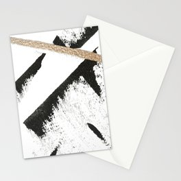 Sassy: a minimal abstract mixed-media piece in black, white, and gold by Alyssa Hamilton Art Stationery Cards