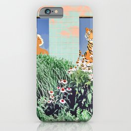 Love Thy Neighbor, Bohemian Brown  Blonde Woman Tiger Quirky Eclectic Tropical Architecture iPhone Case
