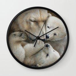 """Nanuk family"" Polar bear by Claude Thivierge Wall Clock"