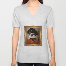Angry cat. Grumpy General Cat. Unisex V-Neck
