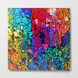 Colorful Rainbow Colored Cracked Mosaic Glass Metal Print