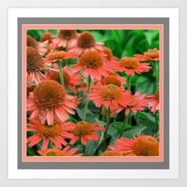 Coral Echinacea Garden Flowers Art Print