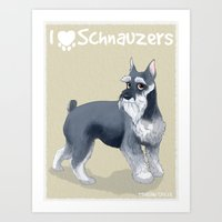 schnauzer Art Prints featuring Schnauzer by Bark Point Studio