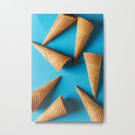 Simple ice cream cone. Blue background. Metal Print