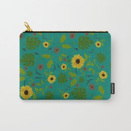 Sunflower & Monstera Leaf Carry-All Pouch