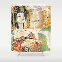 gustav klimt Shower Curtains featuring Klimt Oiran by Sara Richard