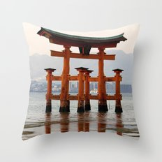 Itsukushime Shrine Torii Gate Throw Pillow