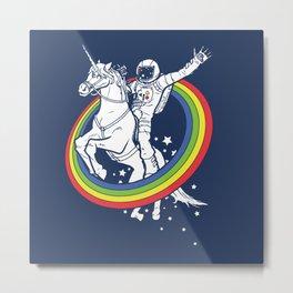 Astronaut riding a unicorn Metal Print