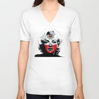 marylin monroe V-neck T-shirts featuring Marylin de los Muertos 3 by jazzyjules63