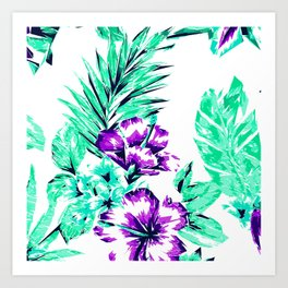 Vibrant Abstract Purple and Teal Tropical Flowers Art Print