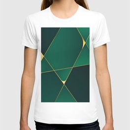 Luxury green and gold geometric lines pattern for home decoration T-shirt