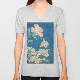 Japanese Flowers Turquoise Peach Unisex V-Neck