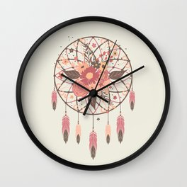 Floral Dreamcatcher Wall Clock