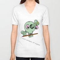 teacher V-neck T-shirts featuring Bad Teacher by mailboxdisco
