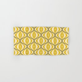 Retro Mid-Century Saucer Pattern in Yellow, Gray, Cream Hand & Bath Towel