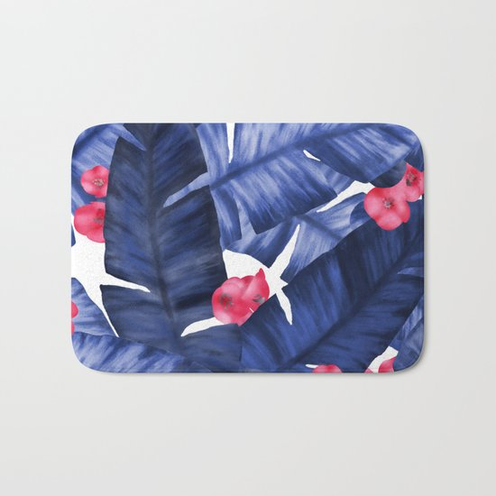 Tropical Banana Leaves With Flower Pattern Bath Mat