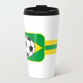 Brazil Flag Football Sketch Travel Mug