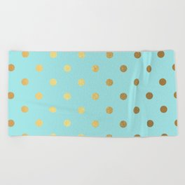 Gold polka dots on aqua background - Luxury turquoise pattern Beach Towel