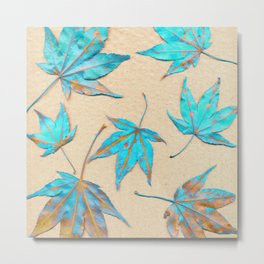 Japanese maple leaves - turquoise and gold on unbleached paper Metal Print
