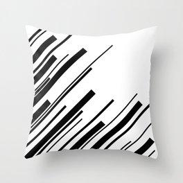 Diagonals - Black on White Throw Pillow