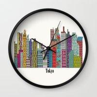 tokyo Wall Clocks featuring Tokyo by bri.buckley