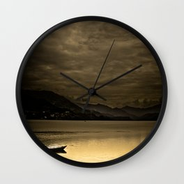 Lone boat on Phewa Lake, Pokhara, Nepal Wall Clock