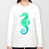 seahorse Long Sleeve T-shirts featuring Seahorse by Sara Eshak