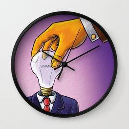 Light Bulb Head Businessman Wall Clock