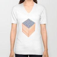 labyrinth V-neck T-shirts featuring labyrinth by Juan Paz