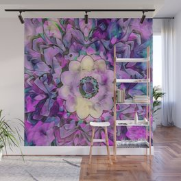 Painted Picturesque Flower Lavender Wall Mural