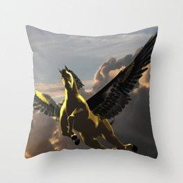 Goldern Pegasus Throw Pillow