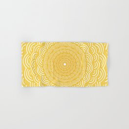 Spiral Mandala (Yellow Golden) Curve Round Rainbow Pattern Unique Minimalistic Vintage Zentangle Hand & Bath Towel