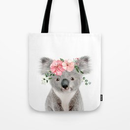 Baby Koala with Flower Crown Tote Bag