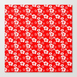 Red And White Turtles Hawaiian Pattern Canvas Print