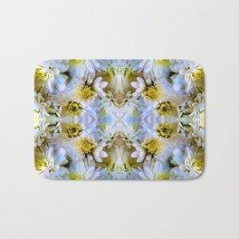 Bue Yellow Pastel Chrysanthemums Design Bath Mat