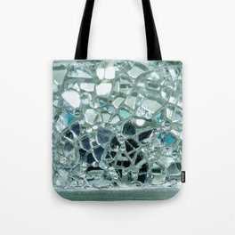 Icy Blue Mirror and Glass Mosaic Tote Bag