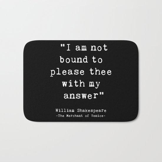 Shakespeare quote philosophy typography black white Bath Mat