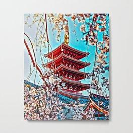 Kyoto Temple Digital Oil Painting Metal Print