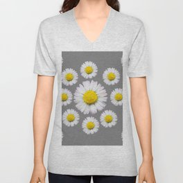 WHITE SHASTA DAISY FLOWERS  DECORATIVE GREY ART Unisex V-Neck