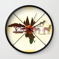 africa Wall Clocks featuring Africa by famenxt