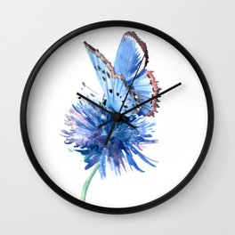 Blue Butterfly and Blue Flower Wall Clock
