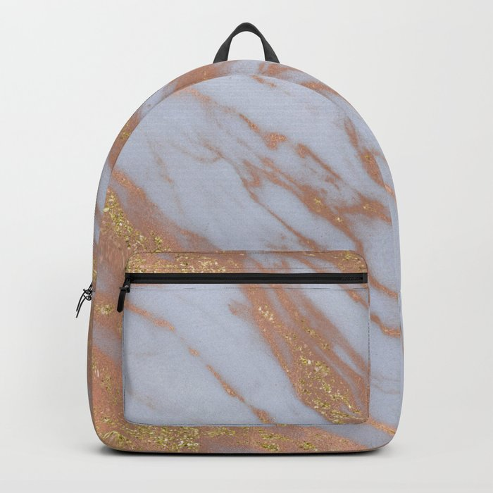 Marble - Rose Gold Marble with Yellow Gold Glitter Backpack