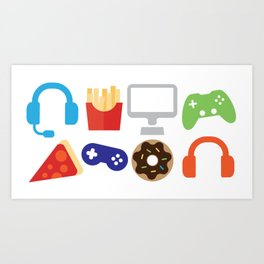 Video Game Party Snack Pattern Art Print