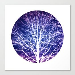 Surreal nature photography of a bare tree in purple and blue Canvas Print