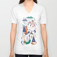 camp V-neck T-shirts featuring Bear camp by Demi Goutte