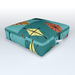 Mid Century Modern Starburst Diamonds Turquise & Teal Outdoor Floor Cushion