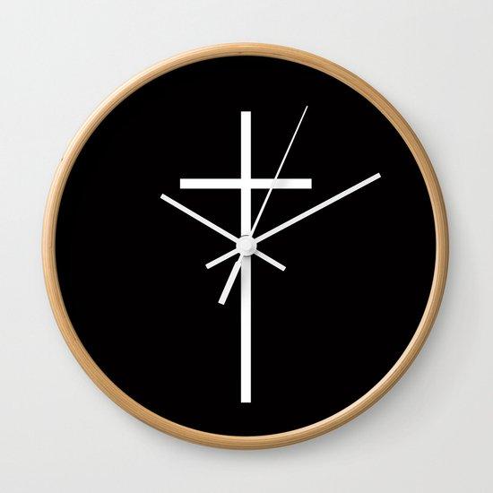 Christian Cross Black Wall Clock