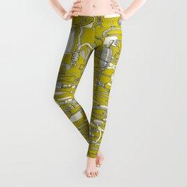 fiendish incisions chartreuse Leggings